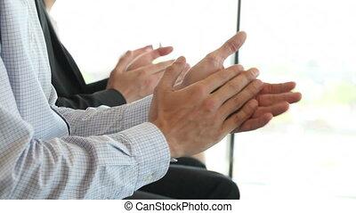 zakelijk, applauding, mensen, vergadering