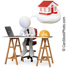 zakelijk, dromen, vrijstaand, ministerie van binnenlandse zaken, computer, persoon, image., 3d, tafel., zijn, achtergrond., nieuw, witte