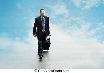 zakelijk, gegevensverwerking, reizen, hemel, achtergrond, man, vertroebelen, con