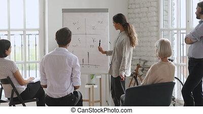 zakelijk, gemengd, speaker., hardloop, mensen, vrouwlijk, geconcentreerd, het luisteren, jonge