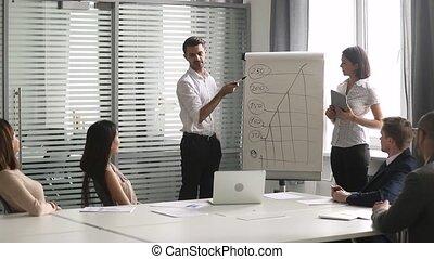 zakelijk, geven, assistent, tabel, tik, spreker, aziaat, presentatie, kaukasisch