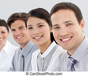zakelijk, groep, het glimlachen, fototoestel, multi-etnisch