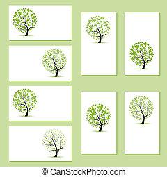 zakelijk, jouw, bomen, floral, vastgesteld ontwerp, kaarten