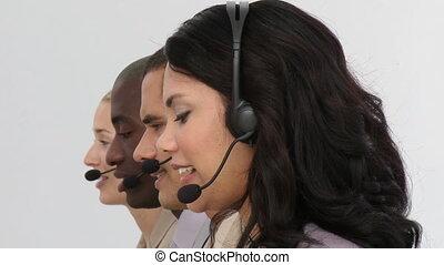 zakelijk, koptelefoon, team, het glimlachen, gebruik