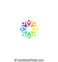 zakelijk, kunst, mensen, witte , samen, meldingsbord, vrijstaand, symbool