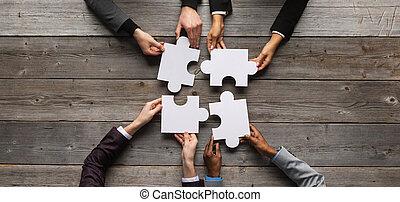 zakelijk, raadsel, teamwork