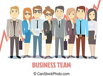 zakelijk, samen., vector, teamwork, staand, spotprent, man, concept, team, vrouw