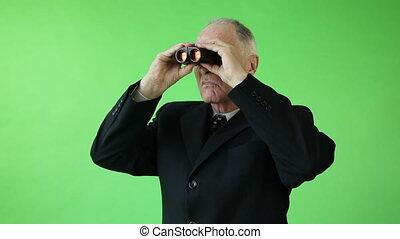 zakelijk, scherm, bezorgd, verrekijker, groene, senior, kaukasisch, man