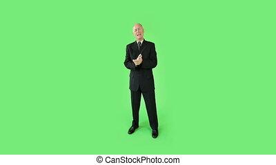 zakelijk, scherm, zeker, groene, interview, senior, kaukasisch, man