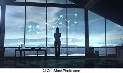 zakelijk, voorbureau, vrouw, infographic, venster., het kijken