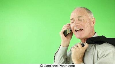 zakelijk, zeker, scherm, telefoon, groene, senior, kaukasisch, man