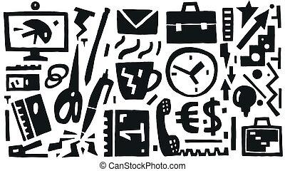 zakenkantoor, iconen, spullen, -, vector
