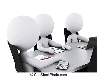 zakenkantoor, mensen, room., vergadering, 3d