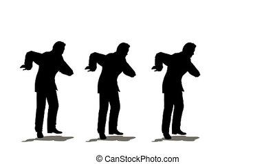 zakenlieden, drie, dancing