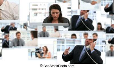 zakenlieden, werkende , montage