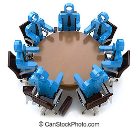 zakenlui, -, achter, sessie, tafel, vergadering, ronde, 3d
