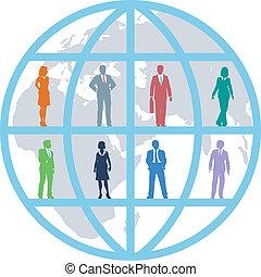 zakenlui, globaal, team, wereld, middelen