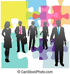 zakenlui, raadsel, oplossing, menselijk, probleem, middelen