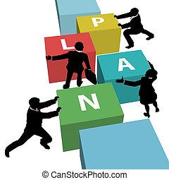 zakenlui, samen, plan, team, duw