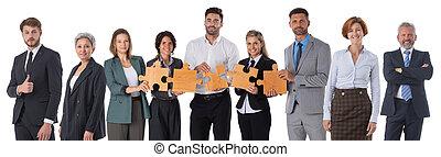 zakenlui, stukken, raadsel