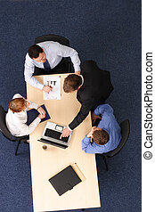 zakenlui, -, vier, brainstorming, vergadering