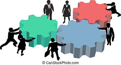 zakenlui, werken, samen, plan, technologie