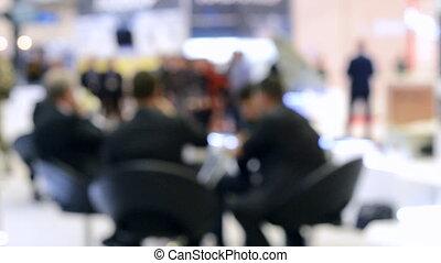 zakenlui, zittende , vaag, achtergrond., tafel