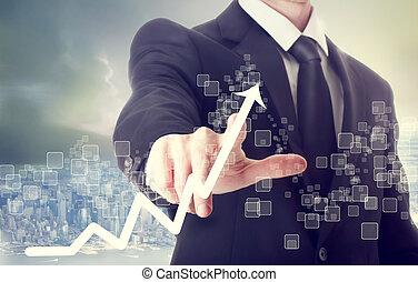 zakenman, aandoenlijk, wasdom diagram, het indiceren