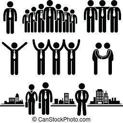 zakenman, arbeider, zakelijk, groep