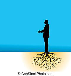 zakenman, boomwortels