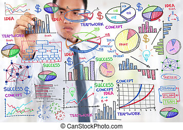 zakenman, concept, moderne, tekening, zakelijk