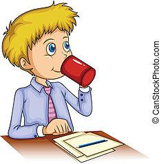 zakenman, drinkende koffie