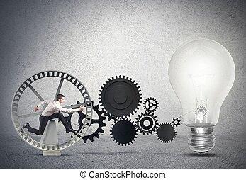 zakenman, idee, het aandrijven