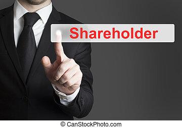 zakenman, knoop het duwen, aandeelhouder, plat
