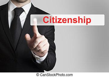zakenman, knoop het duwen, burgerschap, plat