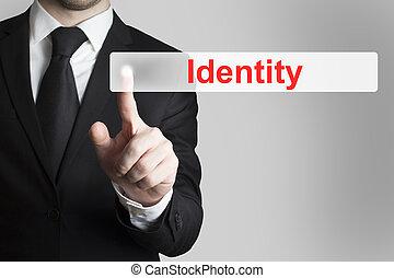 zakenman, knoop het duwen, identiteit, plat