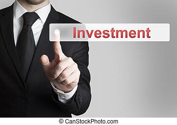 zakenman, knoop het duwen, investering, plat