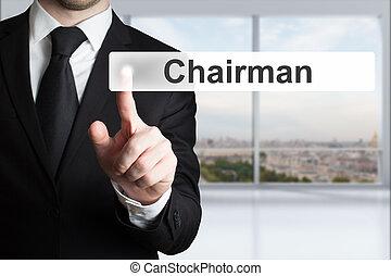 zakenman, knoop het duwen, voorzitter, plat
