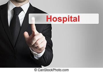 zakenman, knoop het duwen, ziekenhuis, plat