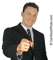 zakenman, pointing.