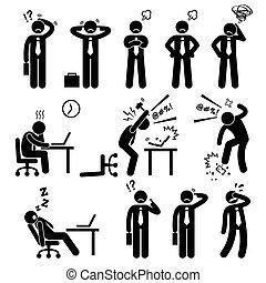 zakenman, stress, kantoor, druk