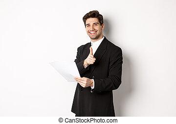 zakenman, witte , wijzende, mooi, black , staand, het roemen, goed, document, beeld, vinger, vasthouden, tegen, achtergrond, kostuum, werk, fototoestel