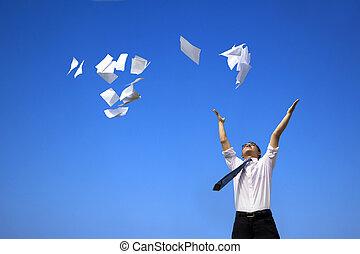 zakenmens , hemel, witte , gegooi, blauwe , papieren, relaxen
