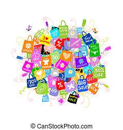 zakken, concept, shoppen , groot, verkoop, ontwerp, jouw
