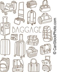 zakken, set, reizen, koffer, hand, vector, getrokken