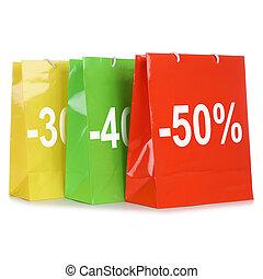zakken, shoppen , aanbod, verkoop, korting, gedurende, of, bijzondere