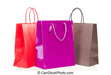 zakken, shoppen , kleurrijke, drie, tafel, witte