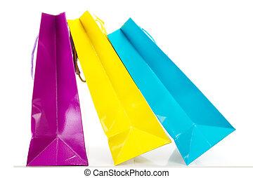 zakken, shoppen , kleurrijke, enig, achtergrond, witte