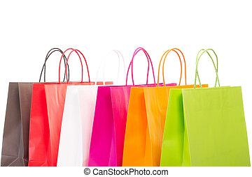 zakken, shoppen , zes, achtergrond, witte , kleurrijke