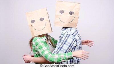 zakken, vrouw, hoofden, grijs, paar, samen, achtergrond, op, man
